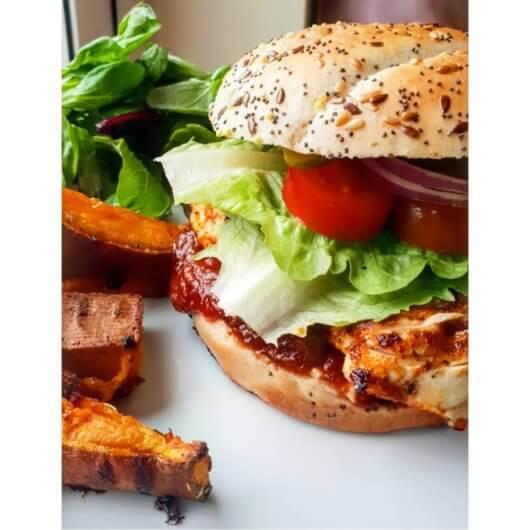 Cajun Chicken burger with Ballymaloe Mayo and Ballymaloe Original Relish