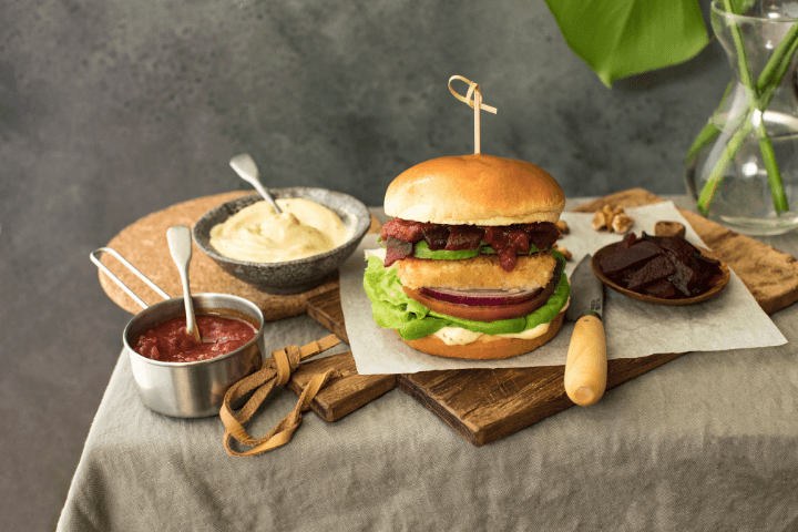 Grilled walnut crusted halloumi burger with Avocado and Ballymaloe beetroot