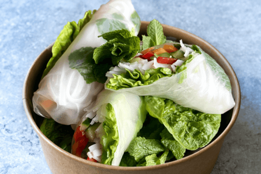 Vegetarian Vietnamese Spring Rolls with Fiery Relish